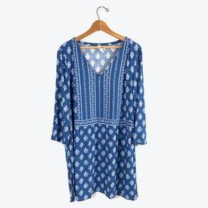 J. JILL Floral V-Neck Pullover Knee-Length Dress